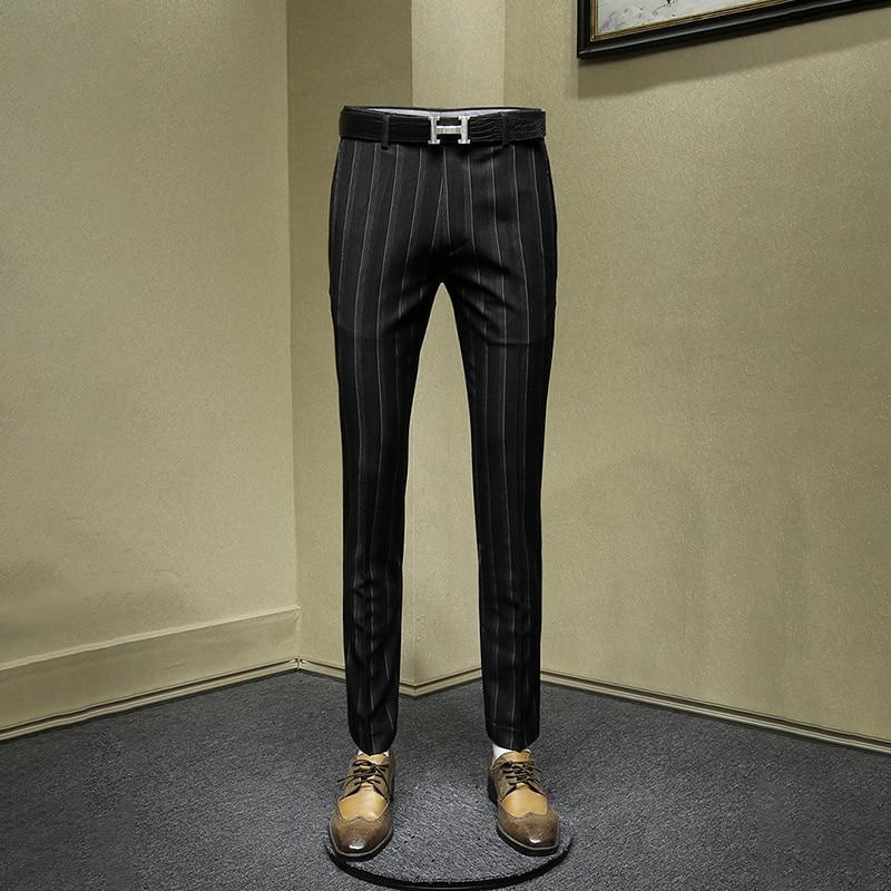 Men Pants Black Deep Blue Big Stripe Streetwear Suits Pant Smart Casual Office Business Mens Trousers 2019 Autumn New Arrivals
