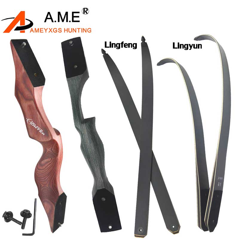 Bow Limb Archery American Hunting Bow Take Down Recurve Bow Right Hand Black Color Gift Arrow Rest Shooting 15 Inch Bow Handle D