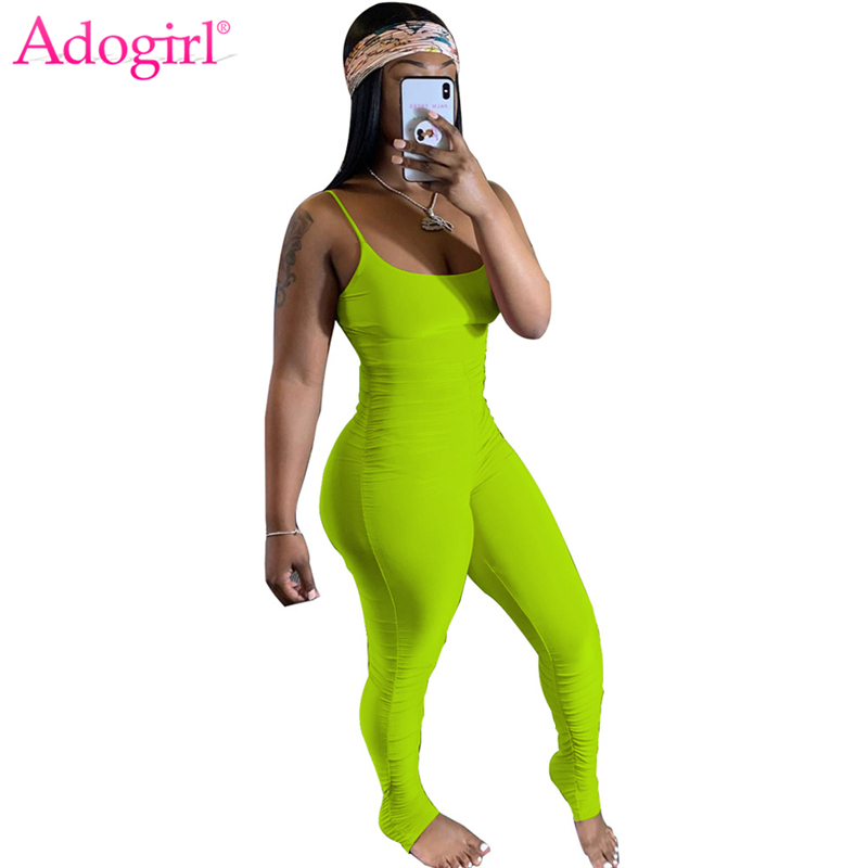 Adogirl Solid Spaghetti Straps Ruched Jumpsuit 2020 Summer Women Casual Sexy Sleeveless Romper Tracksuit Fitness Overalls