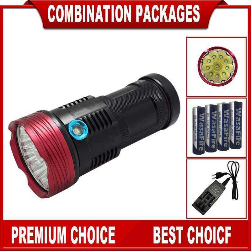 Işıklar ve Aydınlatma'ten LED Fenerler'de 10000 lümen taktik Torch Ultra parlak 10 * T6 LED el feneri su geçirmez el feneri kamp Lanterna + 1 8650 pil + şarj cihazı title=