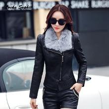 1pcs Womens Plus size short jacket coats 2019 Winter faux fur PU Leather Splicing Cashmere Jacket ladies Skinny locomotive