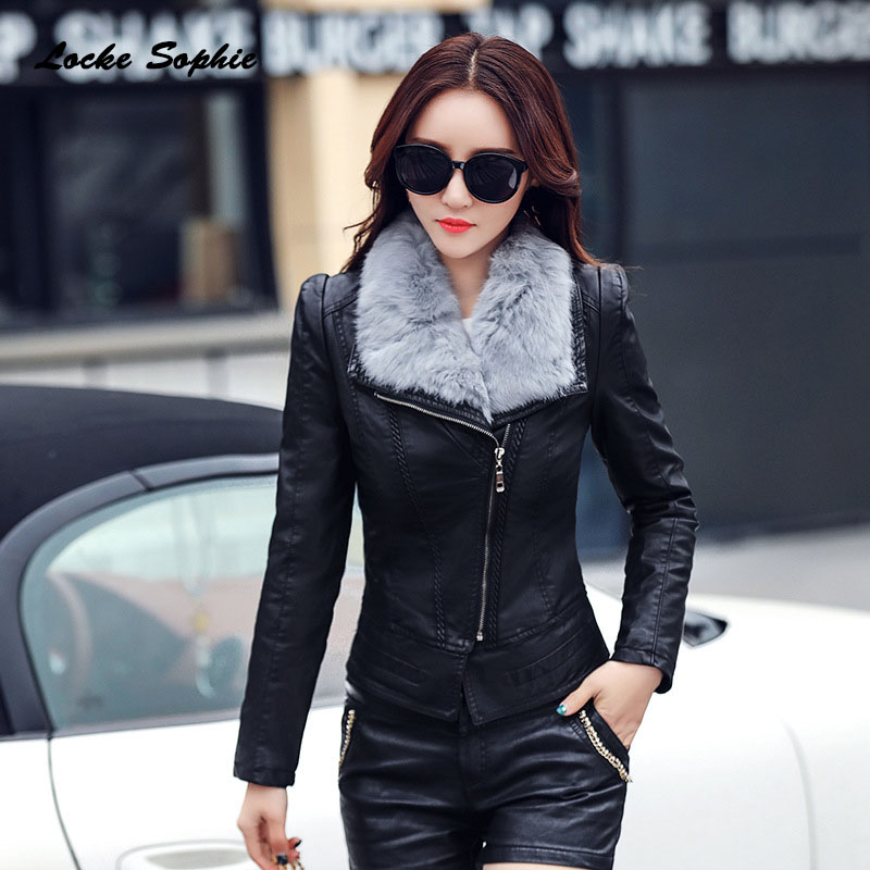 1pcs Womens Plus size short jacket coats 2019 Winter faux fur PU   Leather   Splicing Cashmere Jacket ladies Skinny locomotive coats