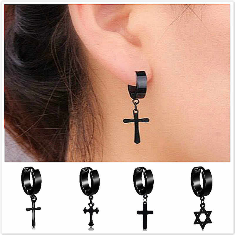 New Men's Stainless Steel Clip Earrings Black/Silver Color Cross Gothic Punk Rock Style Jewellery