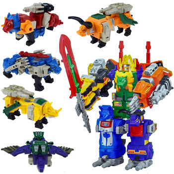 5in1 Megazords Dinozords Transformation Action Figure Toys Deformation Robot Children Gifts image