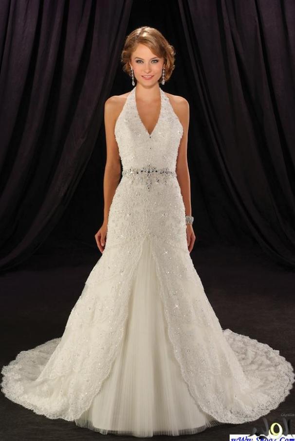 Vestido De Noiva 2016 A-line Sexy New Design Halter Crystal Beading Appliques Lace Wedding Dress Bride Bridal Gowns Casamento