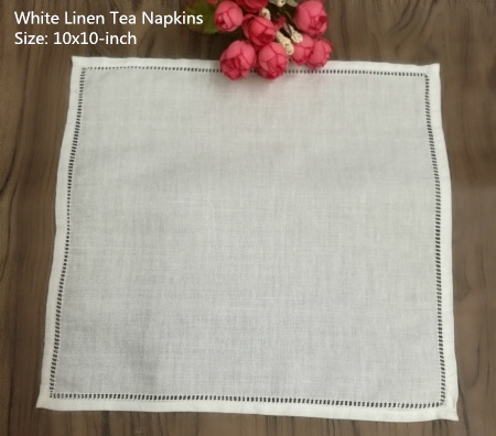 Set Of 4 Fashion Handkerchiefs Towel 10x10-inch White Linen Hemstitched Tea Napkins Cloth Guest Hand Dish Kitchen Towels