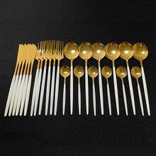 24Pcs White Gold Shiny Dinnerware Set Stainless Steel Knife Fork Spoon Silverware Cutlery Set Kitchen Flatware Tableware Set