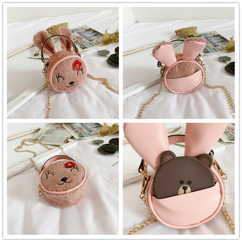 Douyin Celebrity Style Small Girls Shoulder Bag Lambs Wool Cute Embroidery Adorable Bunny Chain Oblique Hand Purse
