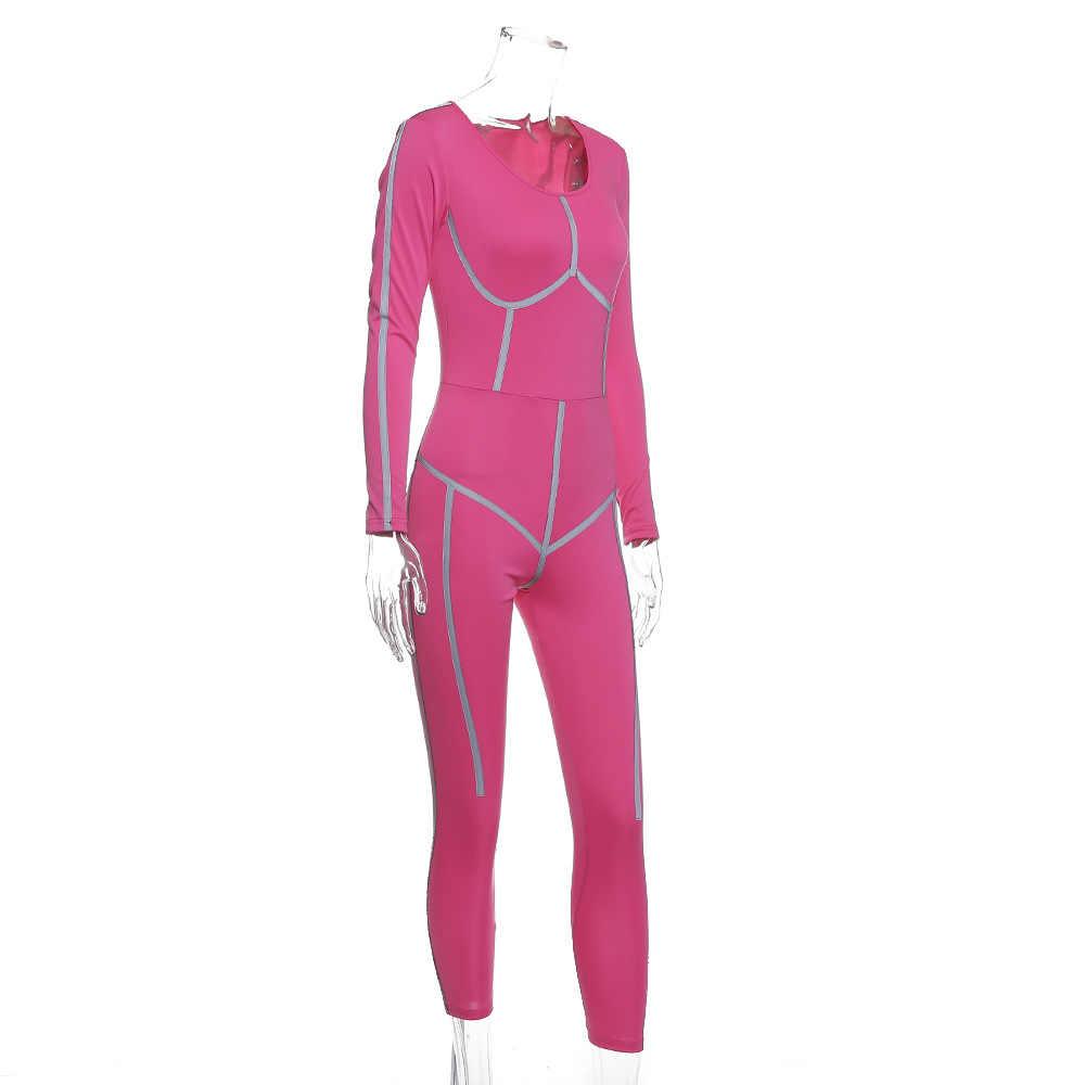 Beyprern レディースピンクジッパーパッチワーク反射ストリップジャンプスーツファッション長袖ビッグ戦利品スポーツスキニージャンプスーツオーバーオール