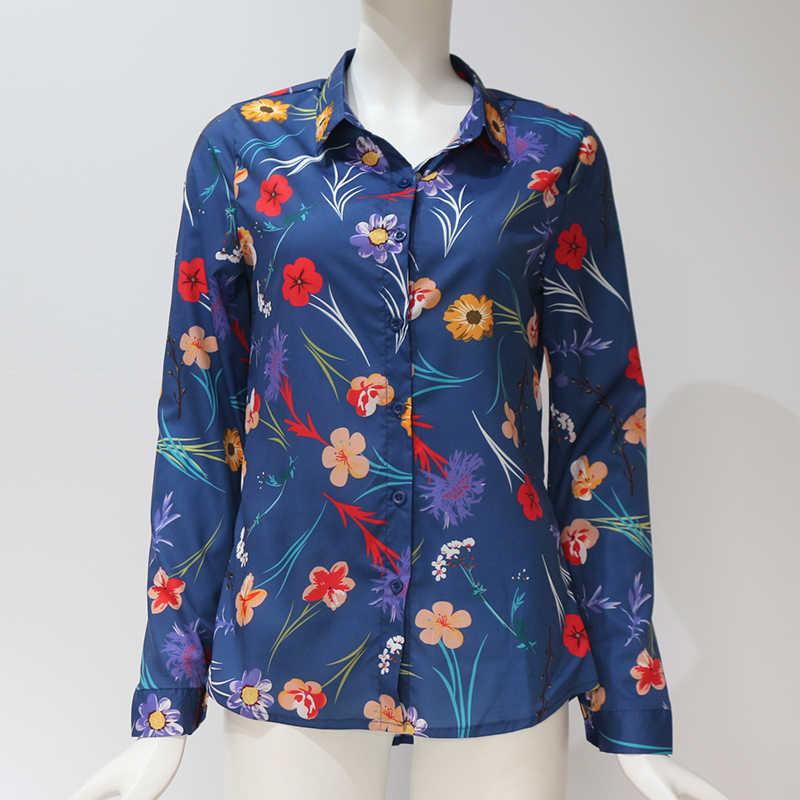Frauen Blusen 2020 Floral Print Lange Hülse Drehen Unten Kragen Bluse Damen Shirts Gestreiften Tunika Plus Größe Blusas Chemisier Femme