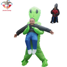 Halloween Alien Costume for Kid Women Men Adult Inflatable Green Mascot Cosplay Funny Blow Up Ghost Suit Party Fancy Dress