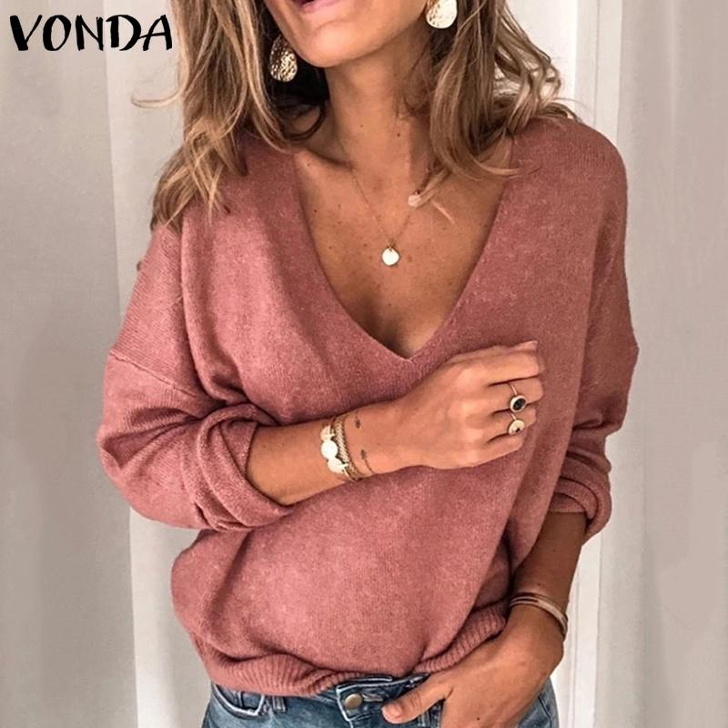 VONDA Woman Blouses 2019 Autumn Basic Knitwear Tops Casual Long Sleeve Shirt Casual Pullover V Neck Bohemian Blusas 5XL