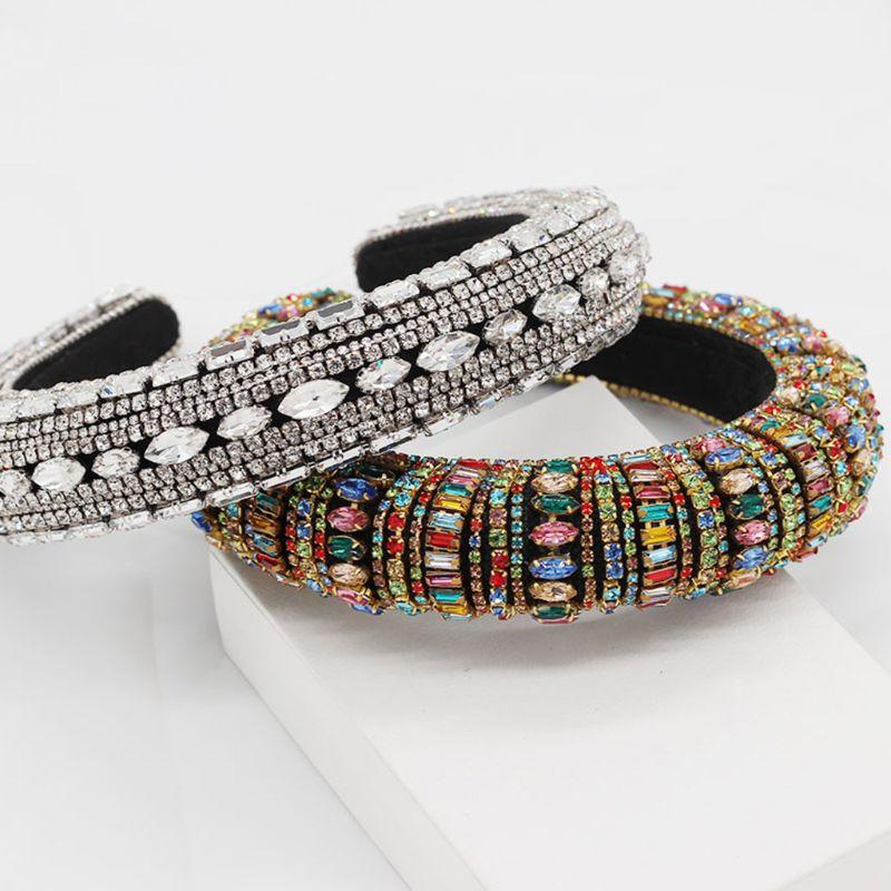 Barroco boho jóias bandana colorido cristal falso