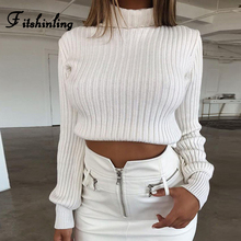 Fitshinling Autumn Winter Turtleneck Women Sweaters And Pullovers Solid Slim Cropped Jumper Long Sleeve Lady Sweater