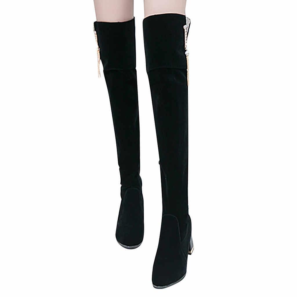 ผู้หญิงสุภาพสตรี Retro Over-the-เข่ายาวหนังนิ่มสีดำเพิ่ม Wedges รองเท้าผู้หญิง Elegant Tube Knight chaussures Femme