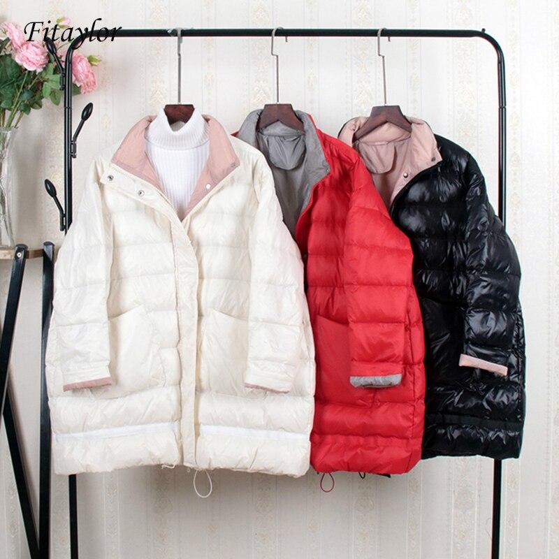 Fitaylor Winter Long Ultra Light Duck Down Jackets Women Thick Warm Coat Loose Jacket Female Snow Parkas Big Pockets Overcoat