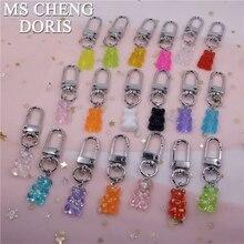 MSCHENGDORIS Candy Color Cute Bear Keychain Keychain Ring Pendant Girls Kids Men Women Couple Key Chain Bag Pendant Wholesale