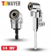 Towayer 105 угловая отвертка набор патрон-адаптер Регулируемый сверла угол инструмент Отвертка 1/4 ''шестигранными битами разъем
