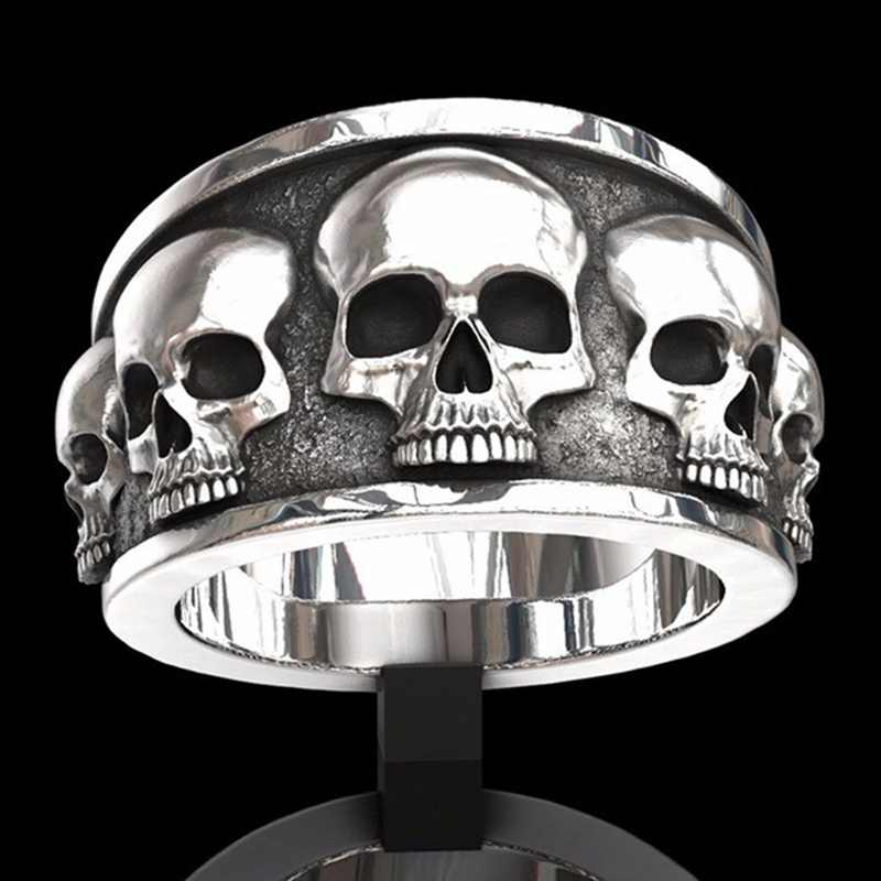 Stainless Steel Punk Style Biker Skull Finger Ring Skeleton Men Women Couple Rings Party Jewelry Personalized Gifts Size 7-12