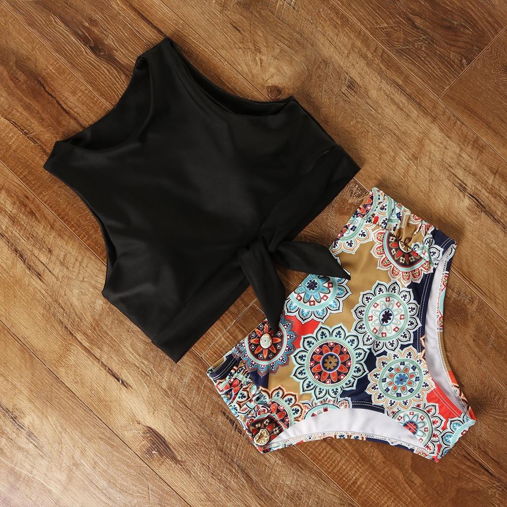 High Waist Bikini Swimwear Women Floral Swimsuit Leopard Women High Neck Bikini Push Up Plus Size Swimwear Striped Bathing Suit 3