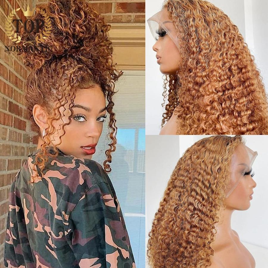 Topnormantic 13x4 кружевные передние глубокие вьющиеся парики с естественной линией волос перуанские человеческие волосы Remy коричневого цвета Дже...
