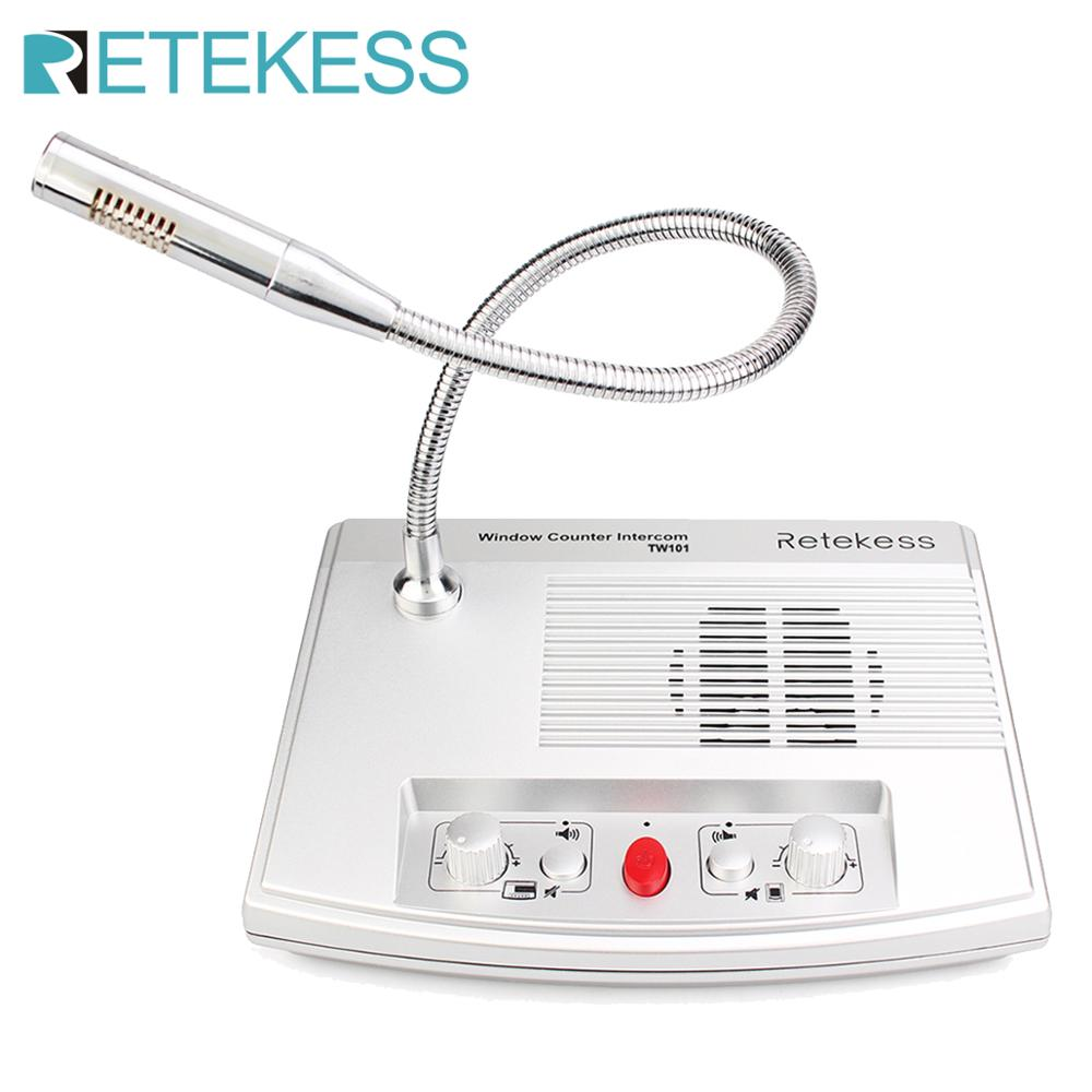 Retekess TW101 Window Speaker System Intercom System Count Dual-Way Intercommunication Microphone Station Bank Pharmacy
