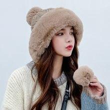 Berretto lavorato a maglia in Cashmere da donna invernale cappello COKK con 3 palline pompon tinta unita a prova di freddo ispessito caldo cappuccio da neve antivento