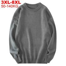 Camisolas masculinas outono solid jumpers pullovers masculino malhas homem grande plus tamanho 8xl 7xl 6xl 5xl simples inverno masculino camisola de grandes dimensões
