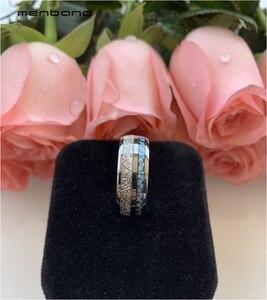 Image 3 - Anillo de boda de tungsteno de 8MM para hombres y mujeres, con incrustaciones de meteorito y fibra de carbono azul, caja de anillo disponible