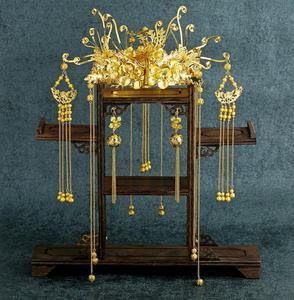 Chińskie tradycyjne Phoenix stroik Tassel kolczyk wstrząsnąć korony ślubne ślub panny młodej biżuteria zestawy Xiuhe akcesoria do sukni