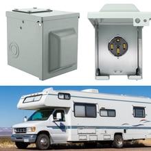 30A/50A RV Power Outlet Box Enclosed Lockable Weatherproof Electrical NEMA 14 50R Receptacle Panel Motorhome Car Generator