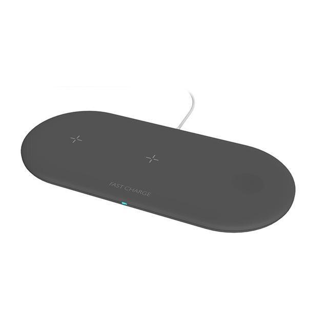 3 в 1 Airpower 10 Вт Беспроводная зарядная площадка Qi держатель беспроводного зарядного устройства для Apple Watch 4 3 2 1 для мобильных телефонов быстрое зарядное устройство - Цвет: black