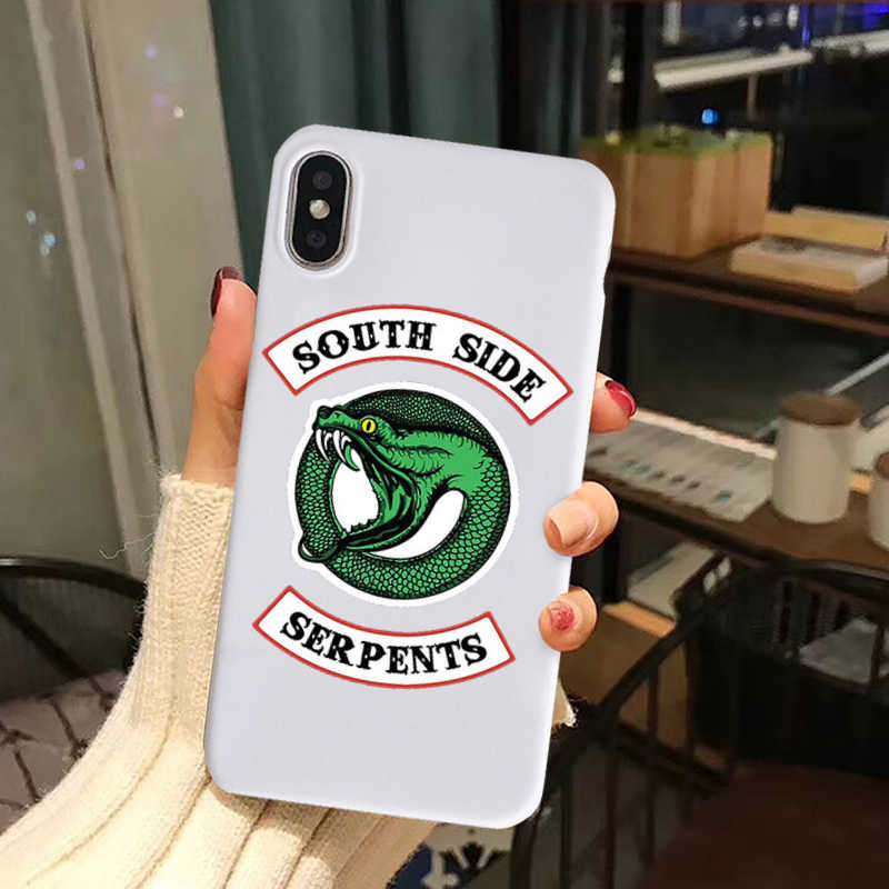 Gykz americano tv riverdale southside serpents caso de telefone para o iphone x 11 pro xs max xr x 7 8 6s plus silicone macio capa traseira