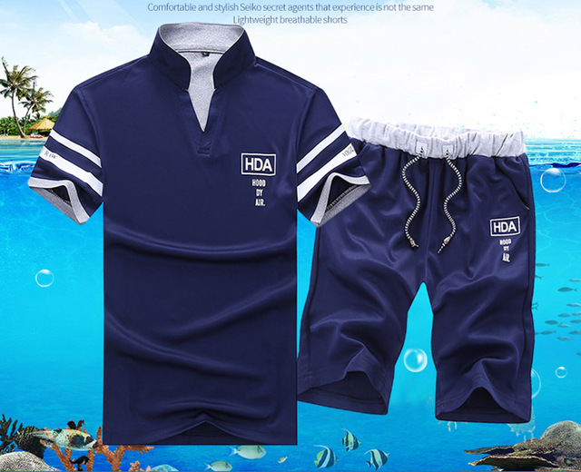 2020 Men's Summer Sets Shorts + Short Sleeve T shirt Men   2