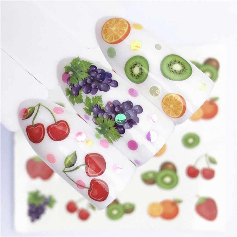 1 قطعة الفاكهة الملونة الزهور مصنع مسمار الفن نصائح شفافة/الطبيعي كاذبة التابوت رسومات أظافر نصائح شقة شكل غطاء كامل مانيكير