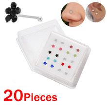Piercing corporal feminino 20 pçs/caixa, piercing do nariz, formato de flor, cor mista, branco, cristal, nariz, fecho de nariz, envio