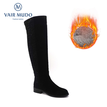 Boots Shoes Suede Warm-Wool Vair Mudo Women Winter High-Bota Snow Ladies Lining ZT13