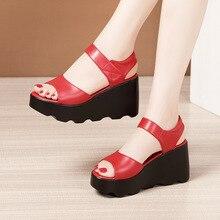Plus Size 32-43 New 2021 Summer Platform Wedges Sandals Women Shoes Comfortable High Heels Sandals Ladies Mother Shoes Leather