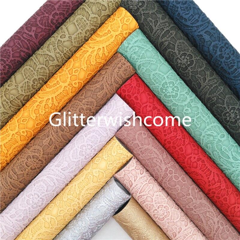 Ткань Glitterwishcome 21x29 см, Размер A4, с цветочным кружевом, рельефная синтетическая кожа, винтажные листы из искусственной кожи для бантов GM1006A