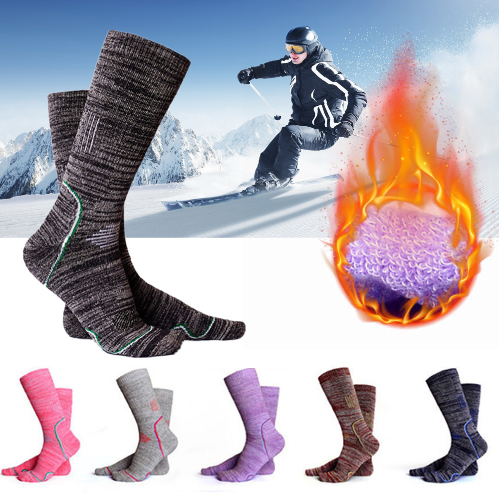 Skiing Socks Professional Winter Sports Men Women Thermal Ski Long Sock Outdoor MTB Cycling Running Football Stockings Black Red