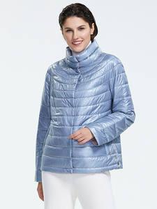 Astrid 2019 Осень новое поступление топ синий плюс размер стоячий воротник легкий короткий стиль парка с кнопками осенняя к уртка для женщин AM-1999