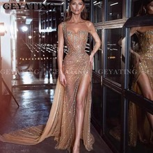 Prom-Gowns Evening-Dress Crystal Mermaid One-Shoulder Party-Dresses Beaded Arabic Long