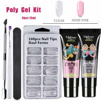 6pcs/kit Poly Gel Set LED Clear UV Gel Varnish Nail Polish Art Kit Quick Building For Nails Extensions Hard Jelly Gel Polygel