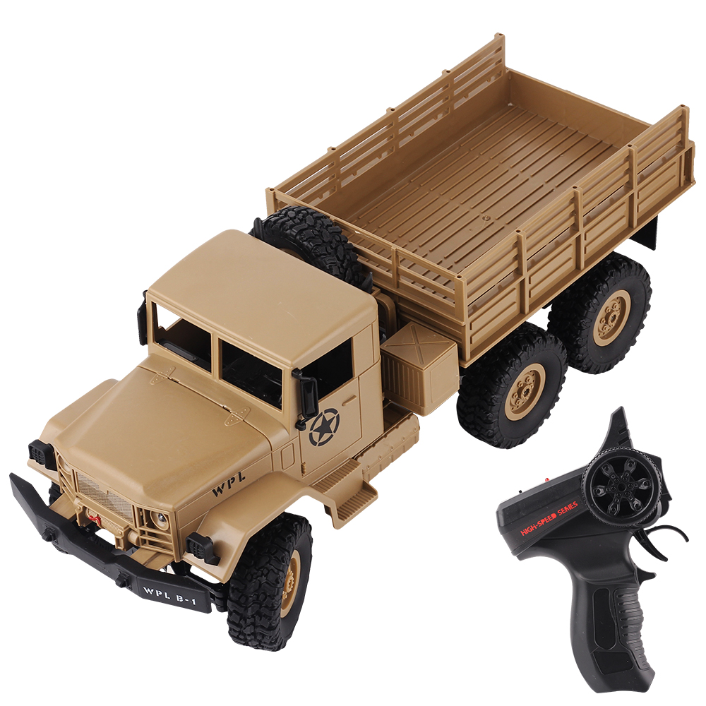 WPL <font><b>1</b></font>/16 Military RC Truck Electric Car 6WD Off Road Vehicle With Wireless Remote Control Kids Car Birthday Gift image