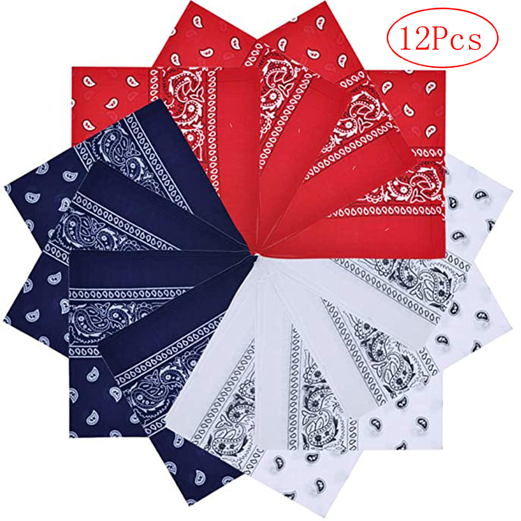 Vintage Square 12pc Pure Cotton New Tie-dyed Headscarf Paisley Scroll Bandanna Tie-dyed Red White Navy Neck Scarf Pocket Towel