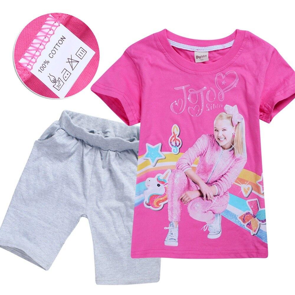 JOJO SIWA/красные летние детские футболки топы для маленьких девочек, футболки комплекты с короткими рукавами для мальчиков и девочек футболки