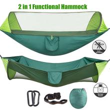 Double Camping Hammock with Mosquito Bug Net, Tree Straps and Carabiners, Easy Assembly, Portable Parachute Nylon Hammock