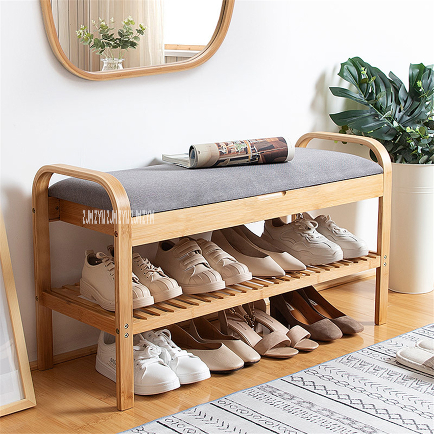 ND190508 Living Room Double Deck Wood Shoe Storage Cabinet Doorway Creative Wood Shoe Rack Modern Fabric Shoes Trying Stool