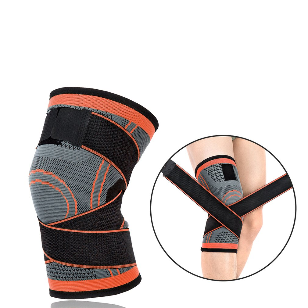 Outdoor Sports Knitted Knee Pads Winding Bandage Pressure Adjustable Running Basketball Riding Fitness Breathable Hot