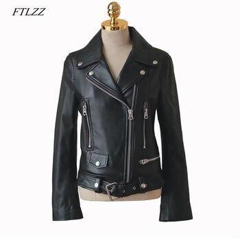 FTLZZ New Autumn Women Pu Leather Jacket Woman Zipper Belt Short Coat Female Faux Leather Black Motorcycle Outwear Biker Jacket 1